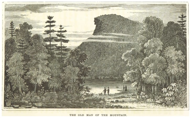 An 1856 postcard of The Old Man of the Mountain