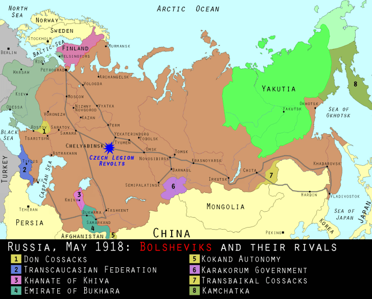 Map of Russia in May 1918