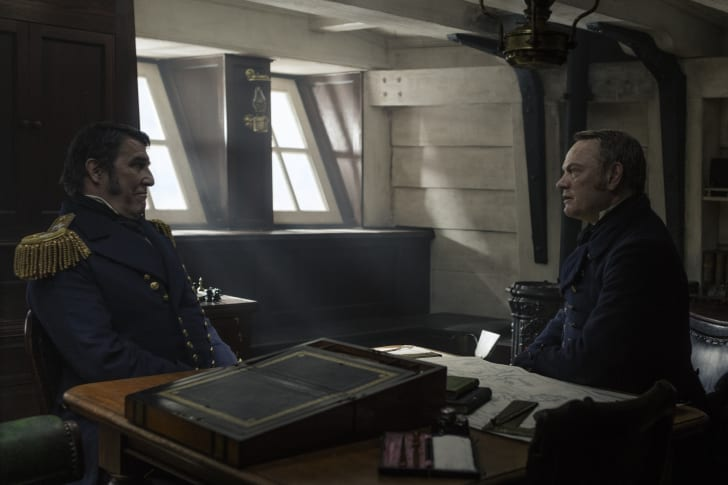 A scene from AMC's The Terror with Sir John Franklin and Capt. Francis Crozier