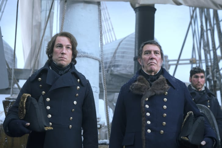 A scene from AMC's The Terror with Sir John Franklin and James Fitzjames