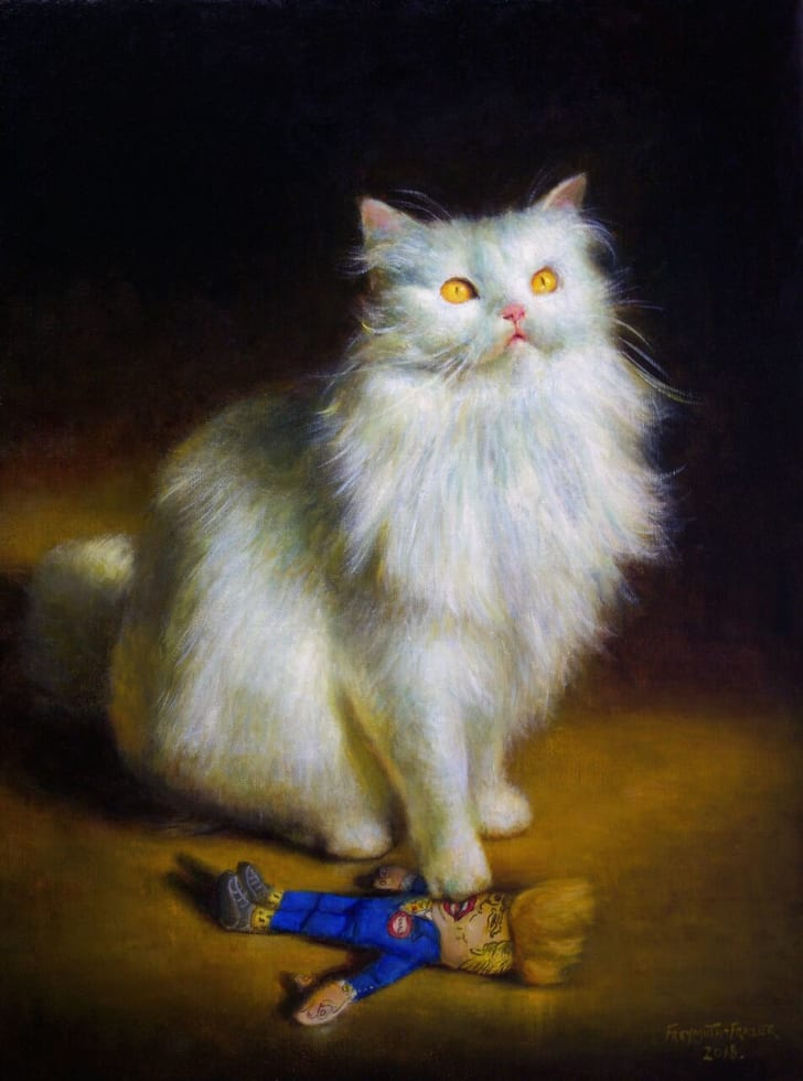 Painting of white cat.