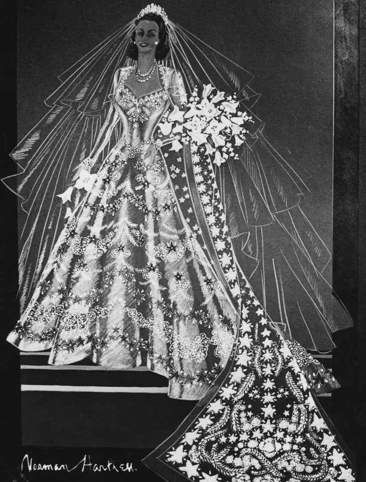 A sketch of Princess Elizabeth's wedding dress by Norman Hartnell