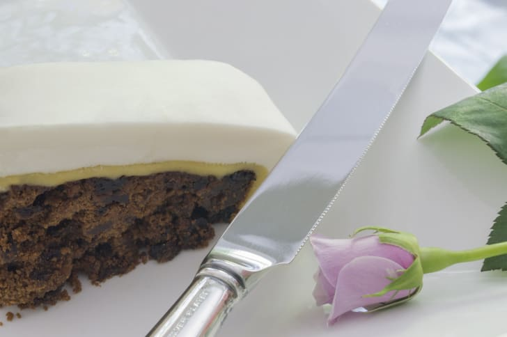 A slice of a wedding fruitcake