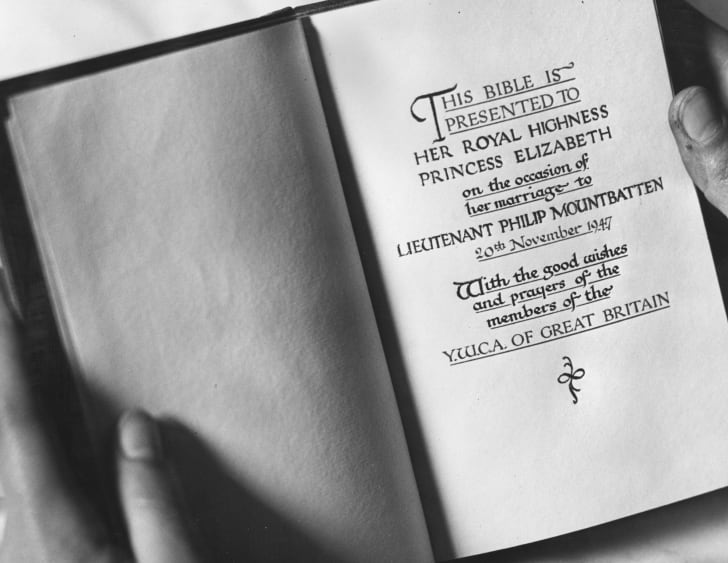The title page of a bible dedicated to Princess Elizabeth to commemorate her marriage to Lietenant Phillip Mountbatten. A gift from the Young Women's Catholic Association of Great Britain