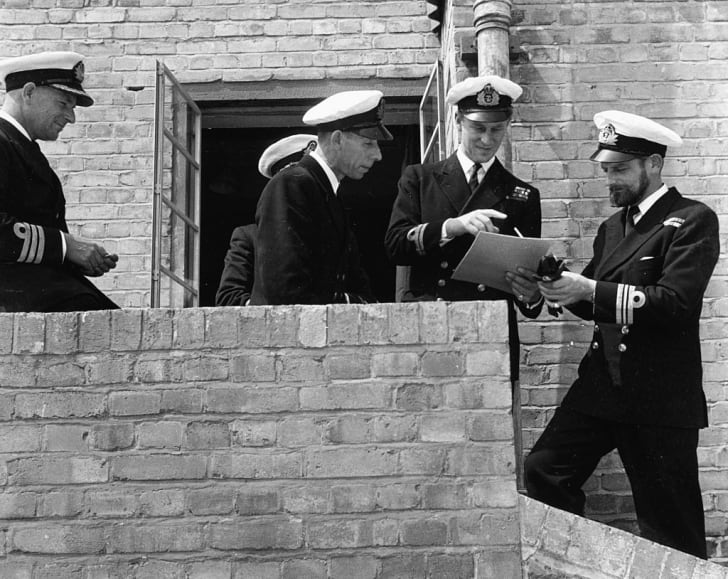 Lieutenant Philip Mountbatten, prior to his marriage to Princess Elizabeth, talking to a group of Naval officers on his return to Royal Navy duties, at the Petty Officers Training Centre in Corsham, Wiltshire, July 31st 1947