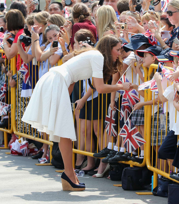 Catherine, Duchess of Cambridge wears wedges while on a tour in Singapore in 2012.