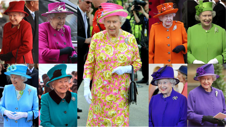 Queen Elizabeth II in a variety of colorful coats and hats.