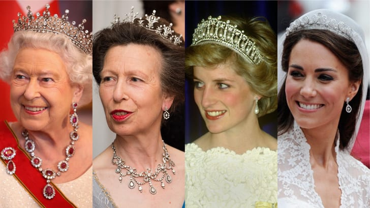 Queen Elizabeth, Princess Anne, Princess Diana, and Duchess Catherine all wearing tiaras at various events.