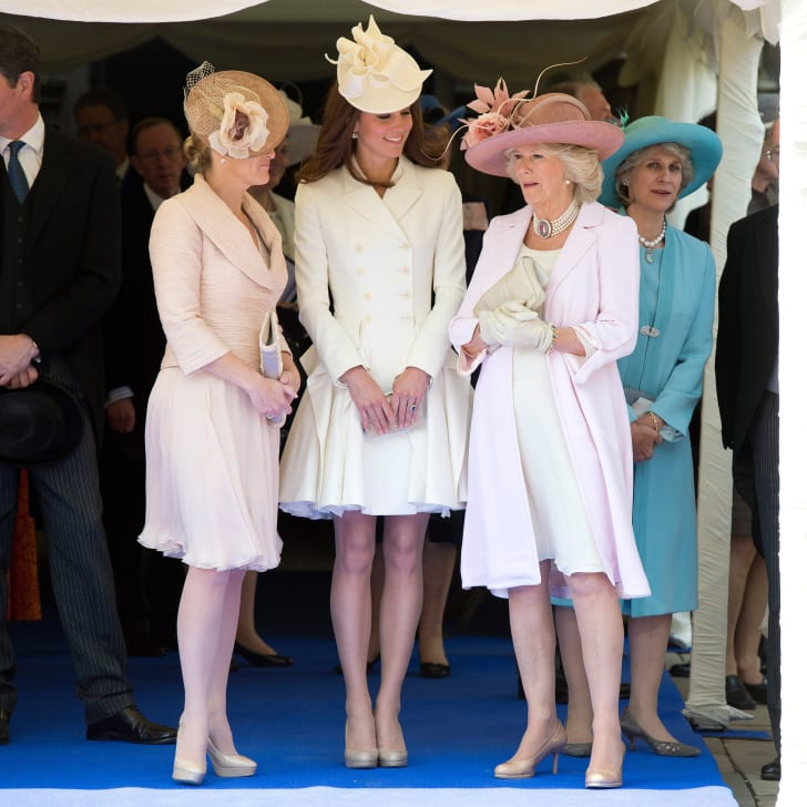 Sophie Rhys-Jones, Countess of Wessex, Catherine, Duchess of Cambridge, and Camilla, Duchess of Cornwall watch the Order of the Garter procession at Windsor Castle in June 2011.