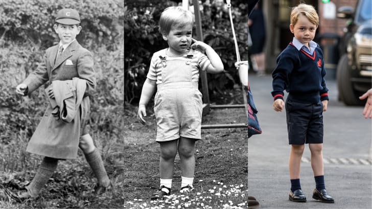 Prince Charles, Prince William, and Prince George all wearing proper shorts as children.
