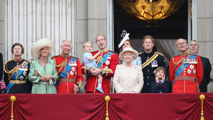 Princess Anne, Prince Charles, Prince William, Prince Harry, and Prince Philip all wear their military uniforms during 2015's Trooping the Colour.