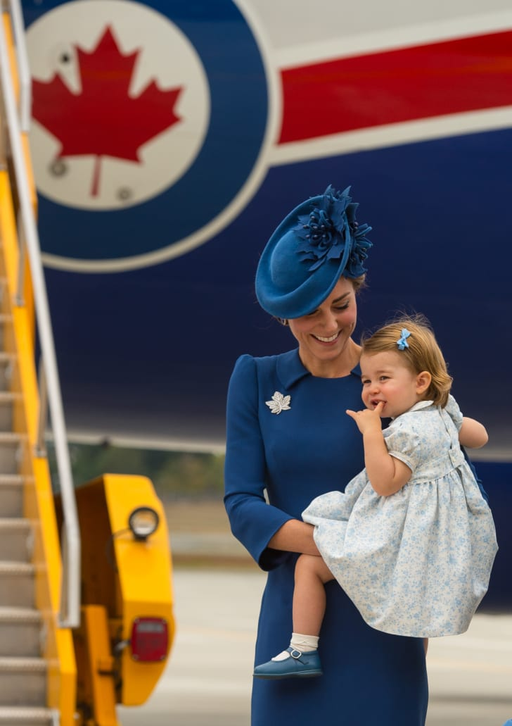 The Duchess of Cambridge wore a maple leaf brooch and her hat featured a maple leaf design while on a trip to Canada in September 2016.