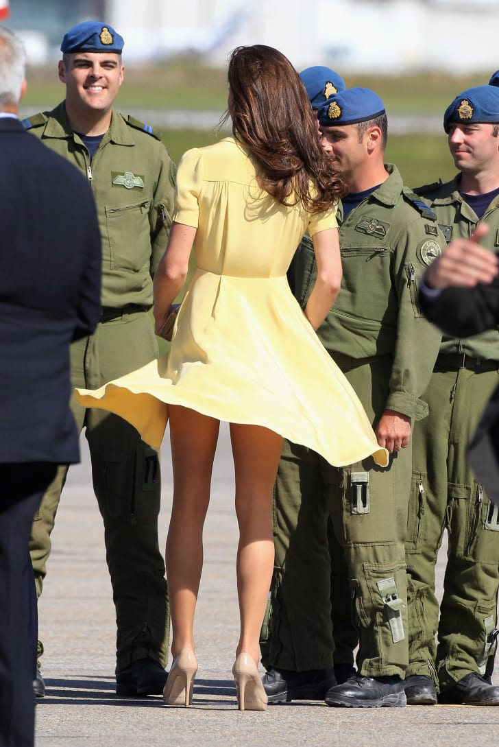 Catherine, Duchess of Cambridge speaks to soldiers as she arrives at Calgary Airport on July 7, 2011 in Calgary, Canada.