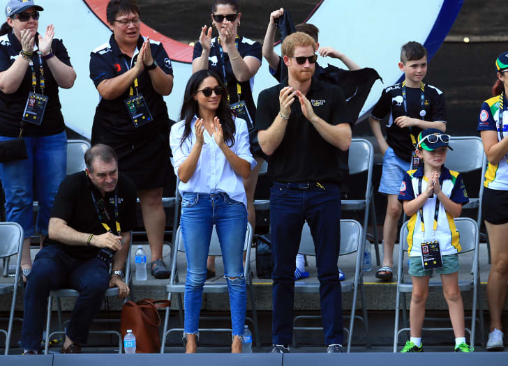 Meghan Markle and Prince Harry attend a Wheelchair Tennis match during the Invictus Games 2017 in Toronto, Canada.