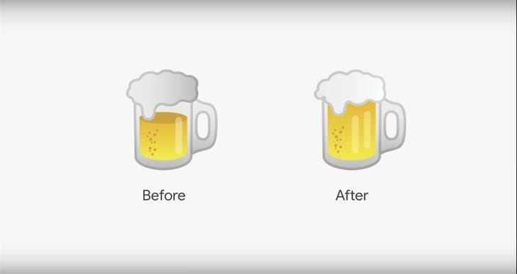 Beer emojis, before and after they were fixed