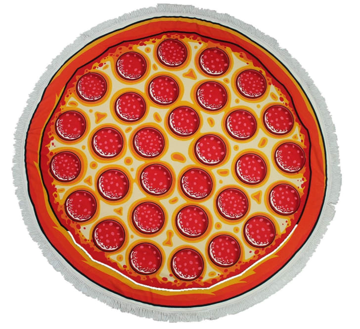 A round beach towel in the shape of a pizza