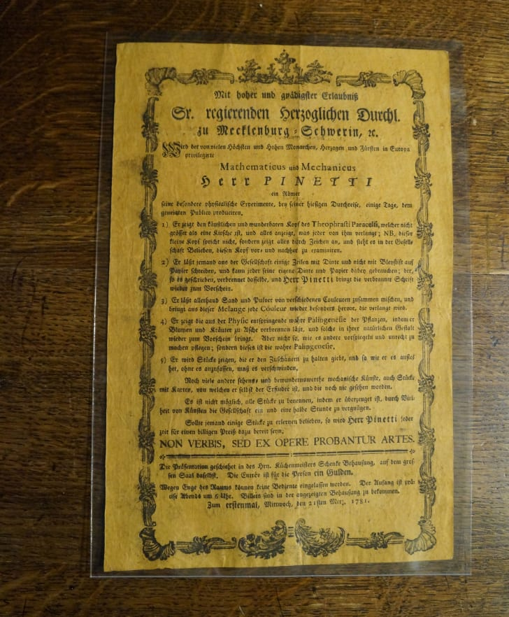 A broadside devoted to magician Joseph Pinetti