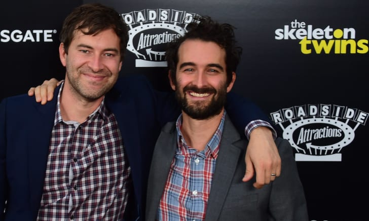 Mark and Jay Duplass (L/R) pose on arrival for the Los Angeles Premiere of the film 'The Skeleton Twins' in Hollywood, California on September 10, 2014