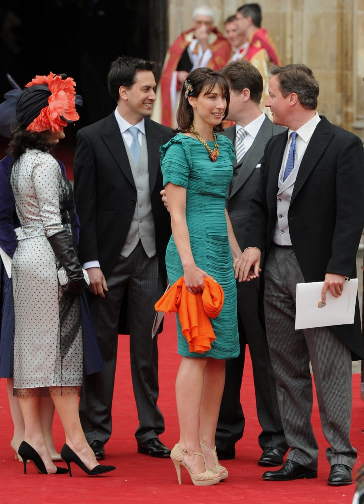 British Prime Minister David Cameron and his wife Samantha outside Westminster Abbey after attending the wedding between Prince William and Kate Middleton in London, on April 29, 2011