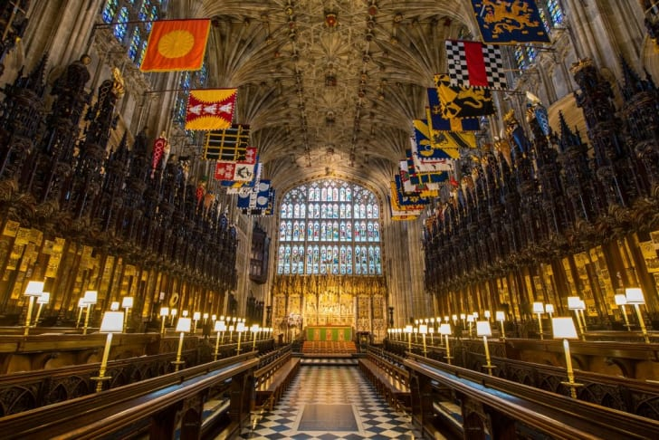 A general view shows the choir in St George's Chapel at Windsor Castle