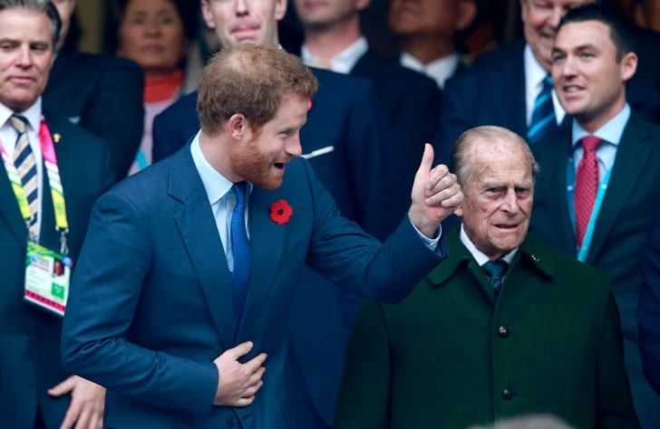 Prince Harry gives the 'thumbs up' ahead of the 2015 Rugby World Cup Final match between New Zealand and Australia at Twickenham Stadium on October 31, 2015 in London