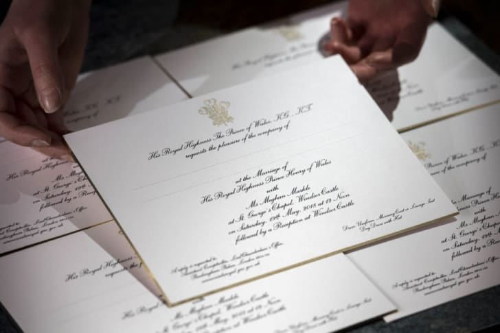 Invitations for the wedding of Britain's Prince Harry and US actress Meghan Markle are pictured, after they have been printed at the workshop of Barnard and Westwood in London on March 22, 2018