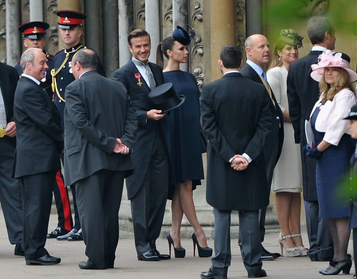David Beckham and Victoria Beckham arrive to attend the Royal Wedding of Prince William to Catherine Middleton at Westminster Abbey on April 29, 2011 in London, England