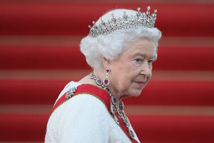Queen Elizabeth II arrives for the state banquet in her honour at Schloss Bellevue palace on the second of the royal couple's four-day visit to Germany on June 24, 2015 in Berlin, Germany