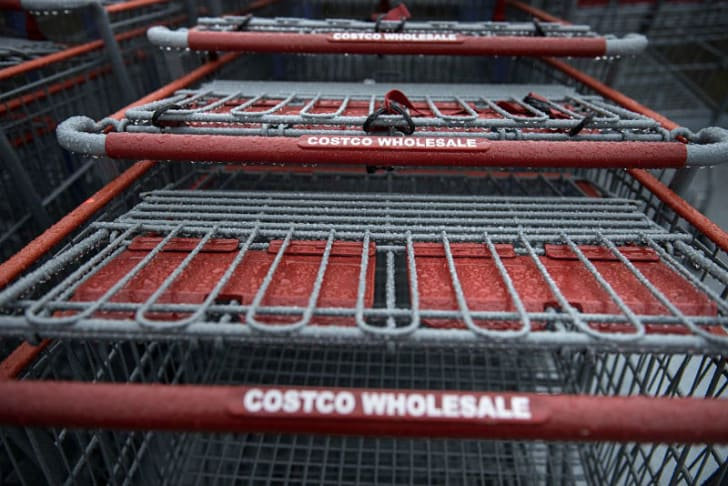 Costco shopping carts are arranged together