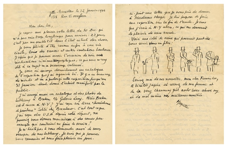 A two-page letter with drawings of men in top hats