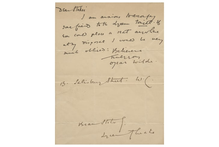 A handwritten letter from Oscar Wilde