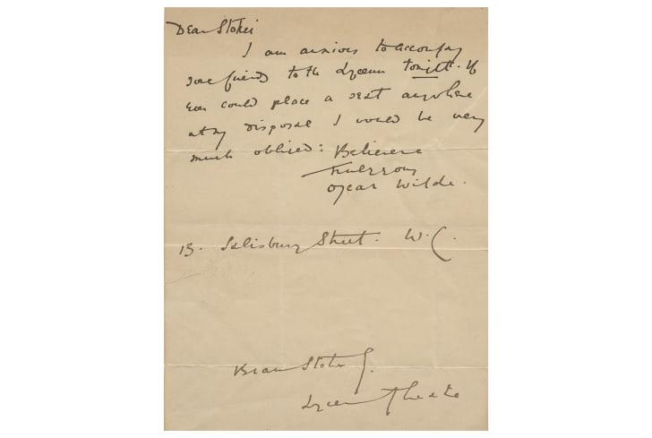 A handwritten letter from Oscar Wilde