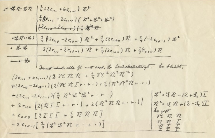 Handwritten mathematical equations by Albert Einstein