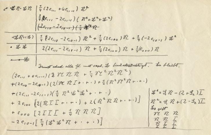 Handwritten mathematical equations by Albert Einstein