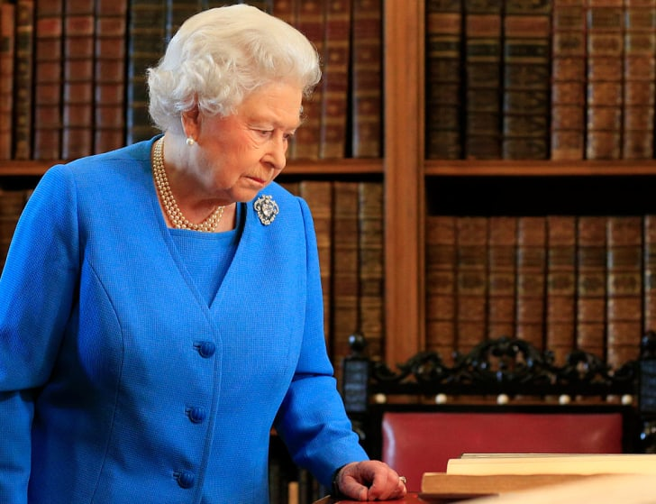Queen Elizabeth II attends the launch of the George III Project at an event held in the Royal Library in Windsor Castle on April 1, 2015