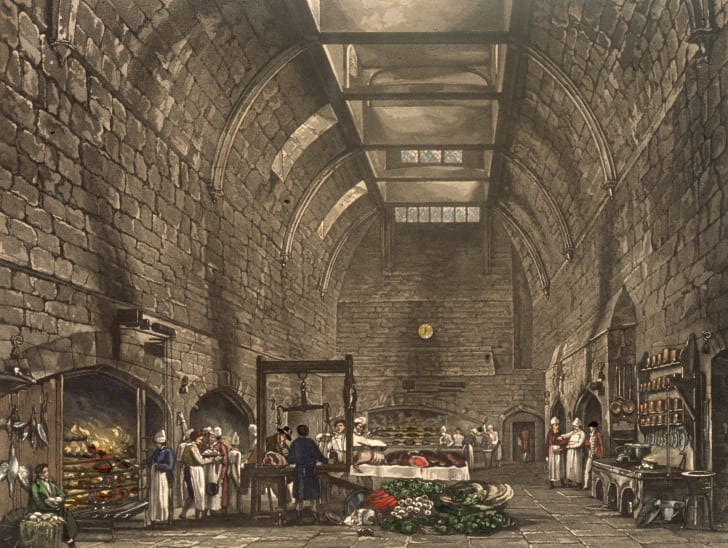 Culinary staff at work in the huge vaulted kitchen at Windsor Castle in 1818