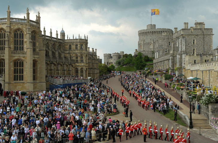 Members of The Household Cavalry take their positions before Britain's Queen Elizabeth II arrives to attend The Order of the Garter Service, at St. George's Chapel in Windsor Castle, Windsor, southern England on June 14, 2010