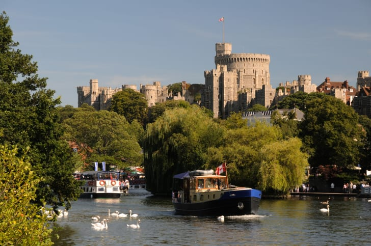A view of Windsor Castle from the water