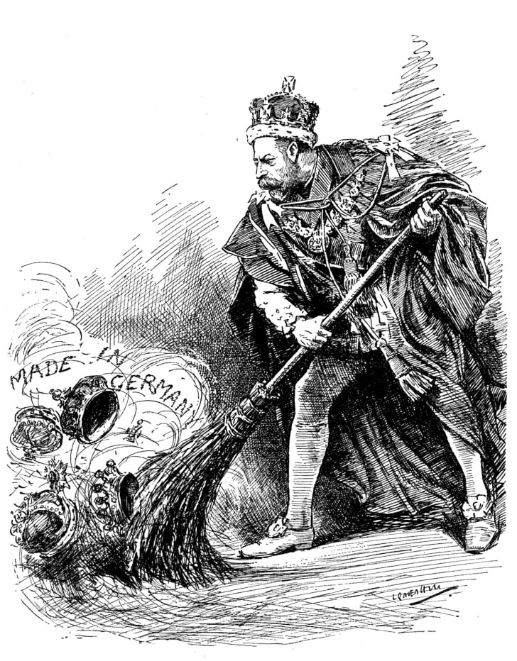 George V of the United Kingdom sweeping away the german titles held by his family
