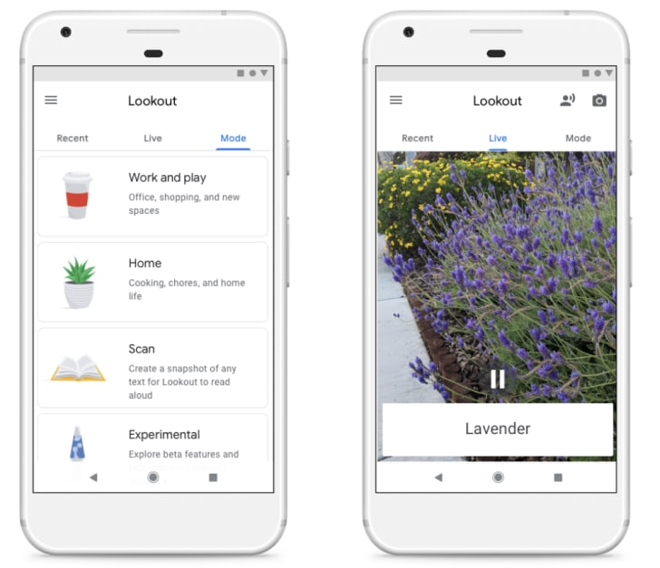 The Lookout app interface