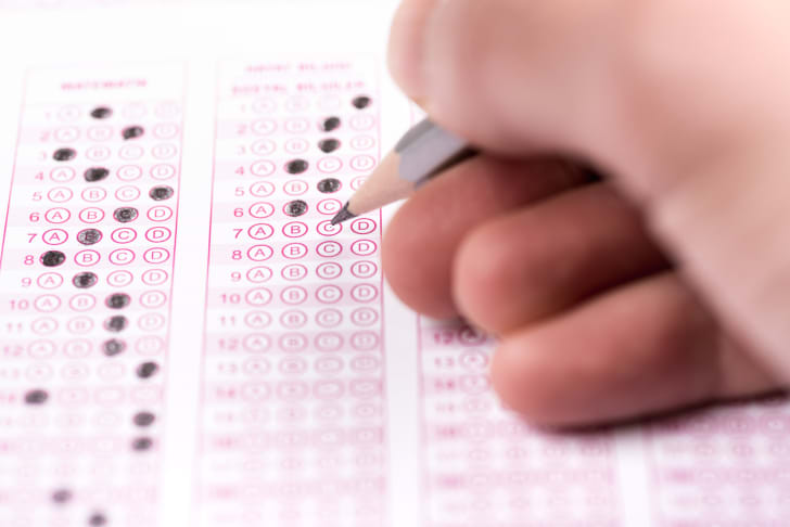 A student takes a test with a pencil