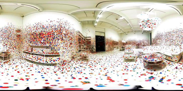 A room covered in polka dot stickers