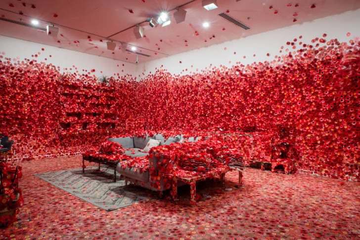 A living room covered in flowers