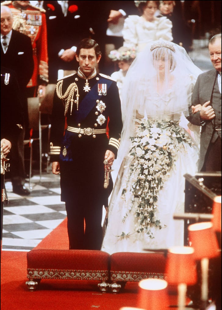 Lady Diana, Princess of Wales with Prince Charles of Wales at their wedding at St Paul Cathedral in London in July 1981