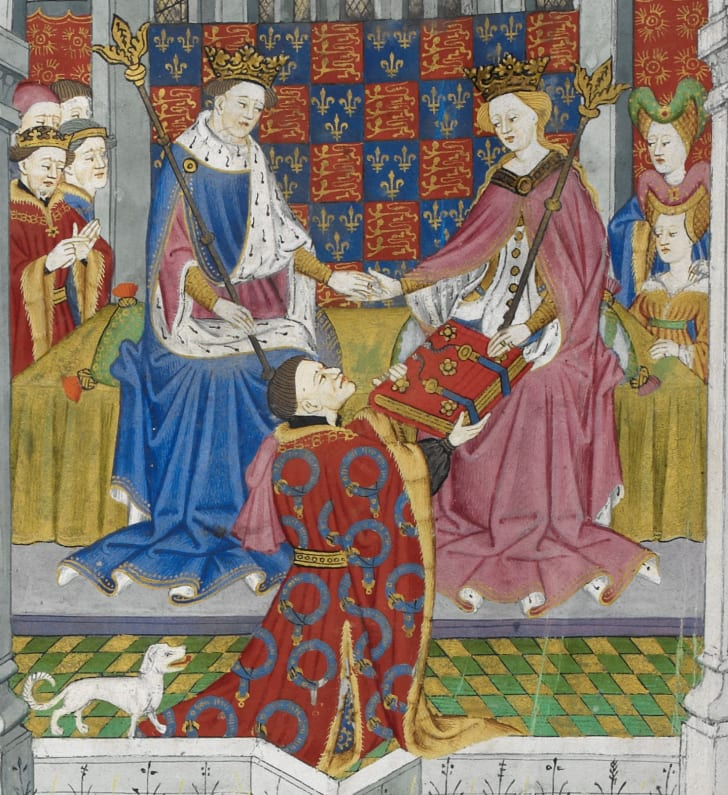 Detail of the illuminated miniature on the presentation page of the Talbot Shrewsbury Book, showing the donor, John Talbot, 1st Earl of Shrewsbury, presenting the book as a gift to Margaret of Anjou and Henry VI.
