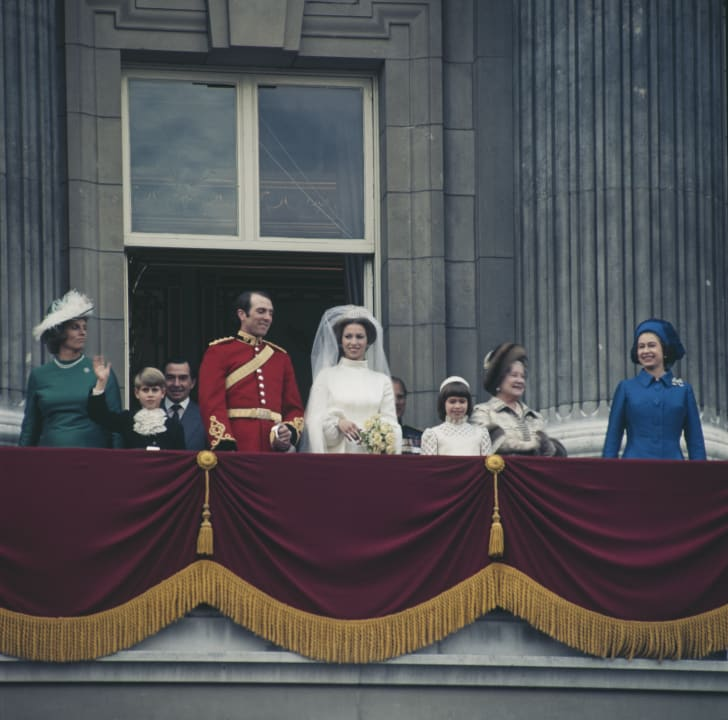 Anne, the Princess Royal and Mark Phillips pose on the balcony of Buckingham Palace in London, UK, after their wedding in November 1973.