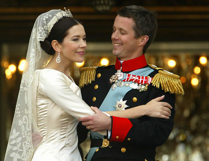 Crown Prince Frederik and Crown Princess Mary of Denmark after their wedding in 2004.