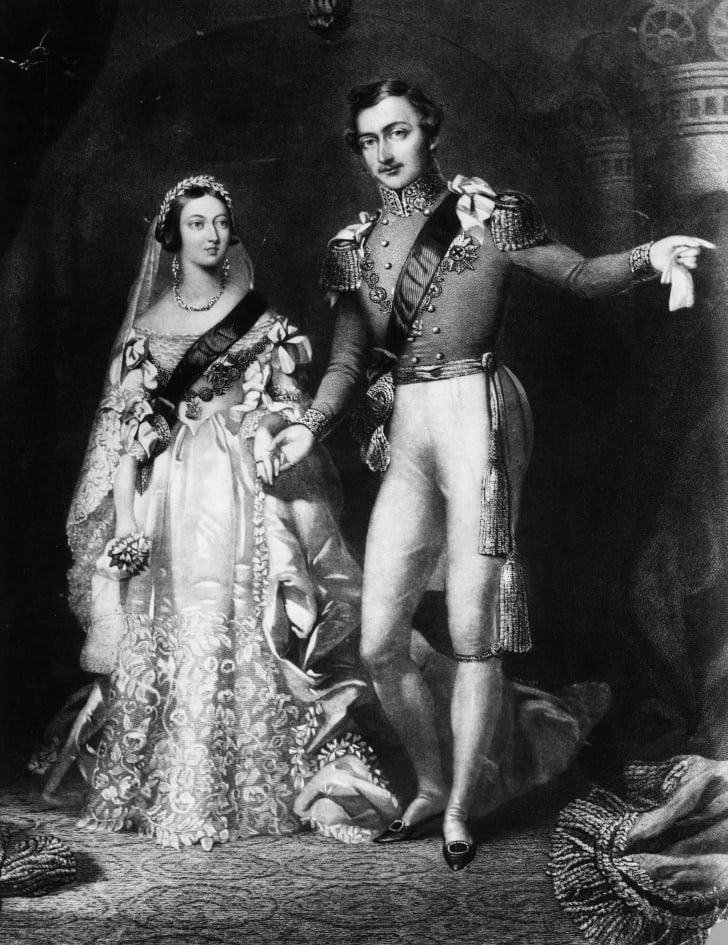 Queen Victoria and Prince Albert on their return from the marriage service at St James's Palace, London in 1840.