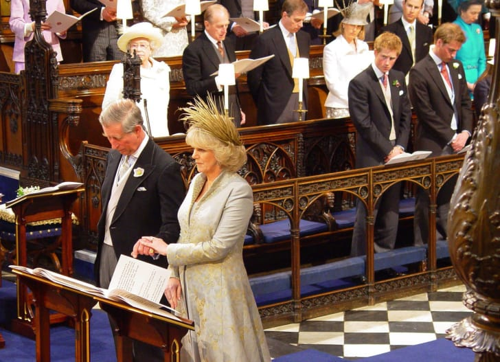 Prince Charles and the Duchess of Cornwall, formerly Camilla Parker Bowles stand during the Service of Prayer and Dedication at Windsor Castle in 2005.