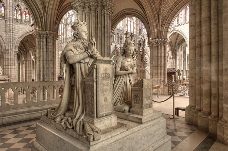 The funerary monuments (not the graves) of King Louis XVI and Queen Marie Antoinette at the Basilica of Saint Denis, France.